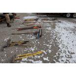 Misc. rakes, shovels, Collins axe, sledgehammer, brooms.