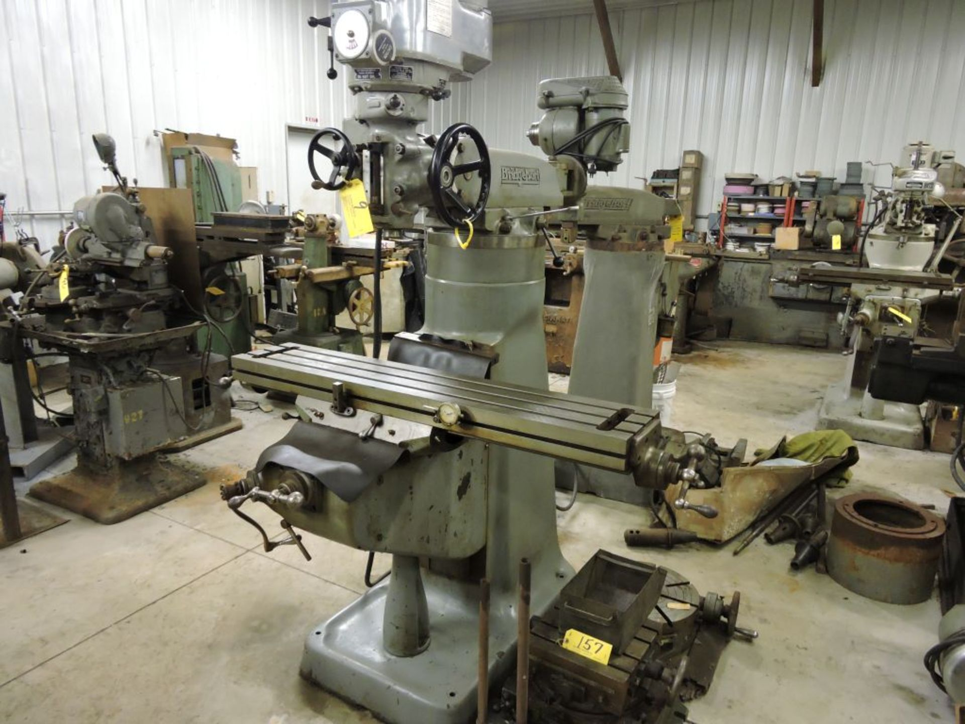 """Bridgeport mill, model 12-BR, sn 83978, 9"""" x 48"""" bed, manual (not down power), shaping attachment. - Image 12 of 15"""