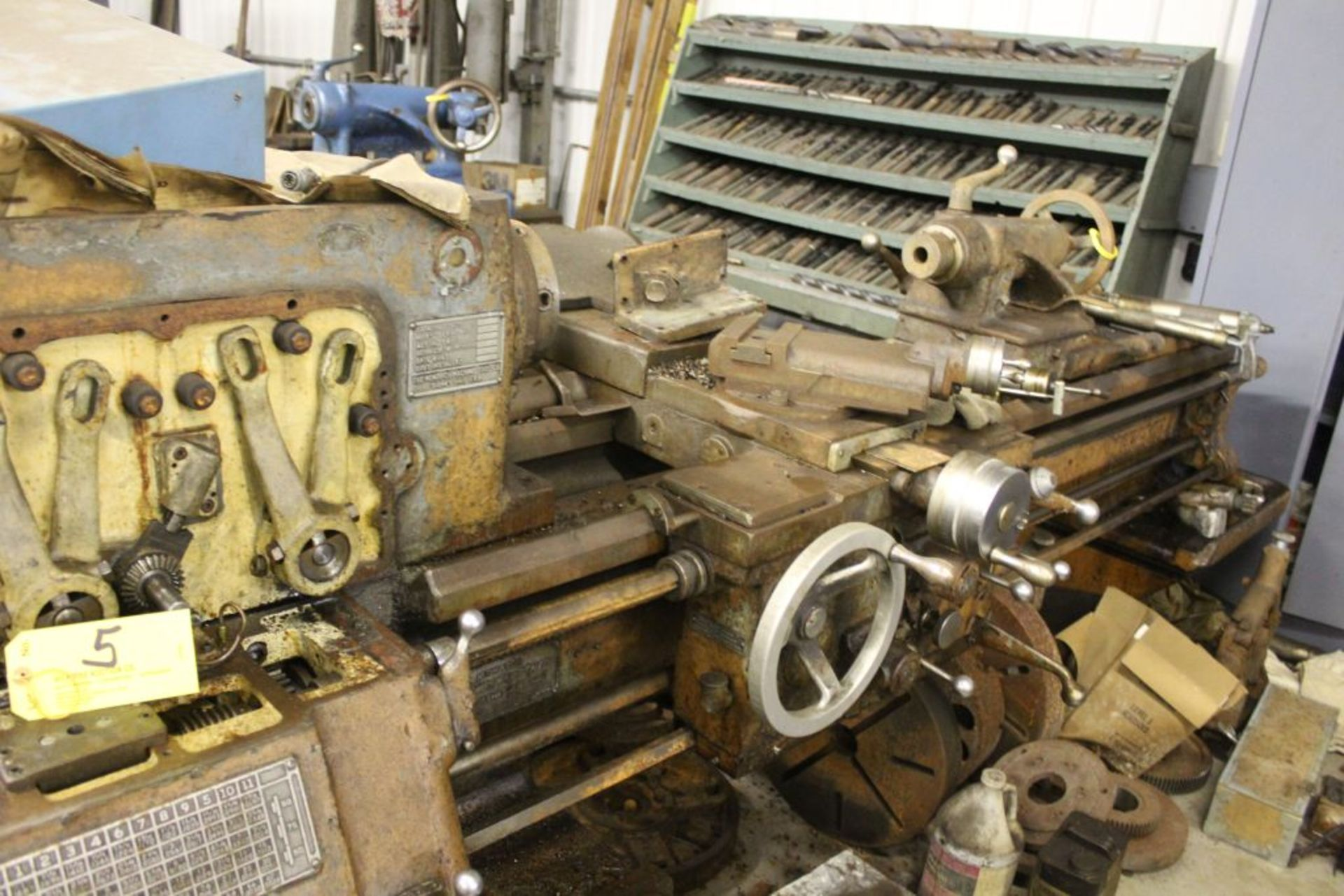 """1954 Monarch lathe, sn 38256, 16"""", 1 3/4"""" hole, 80"""" bed, 18"""" swing, 54"""" center to center, tool - Image 2 of 3"""