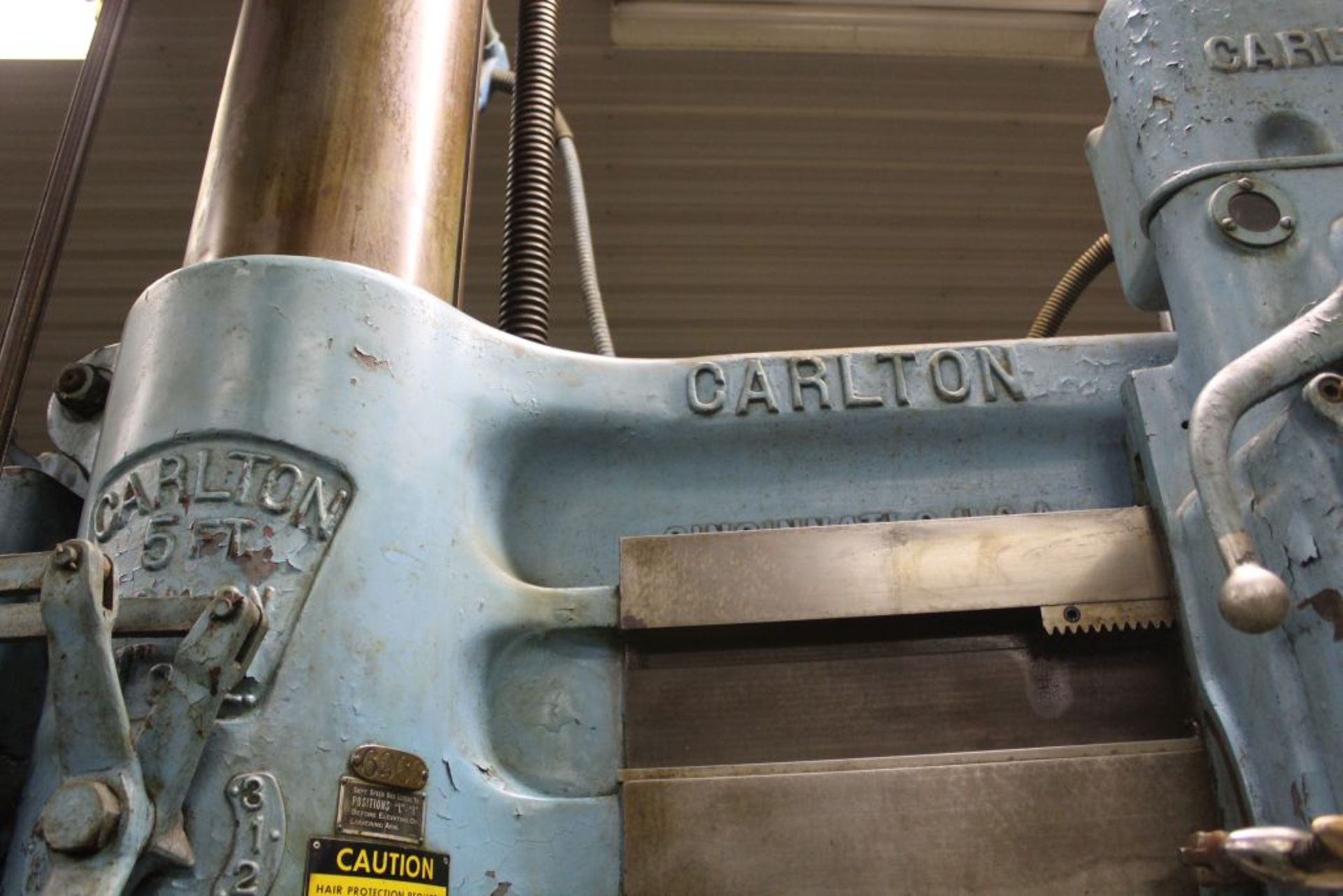 """Carlton radial arm drill, 5' arm, 11"""" column, 9' 9"""" total height, 36"""" x 53"""" bed, misc. tooling. - Image 6 of 8"""