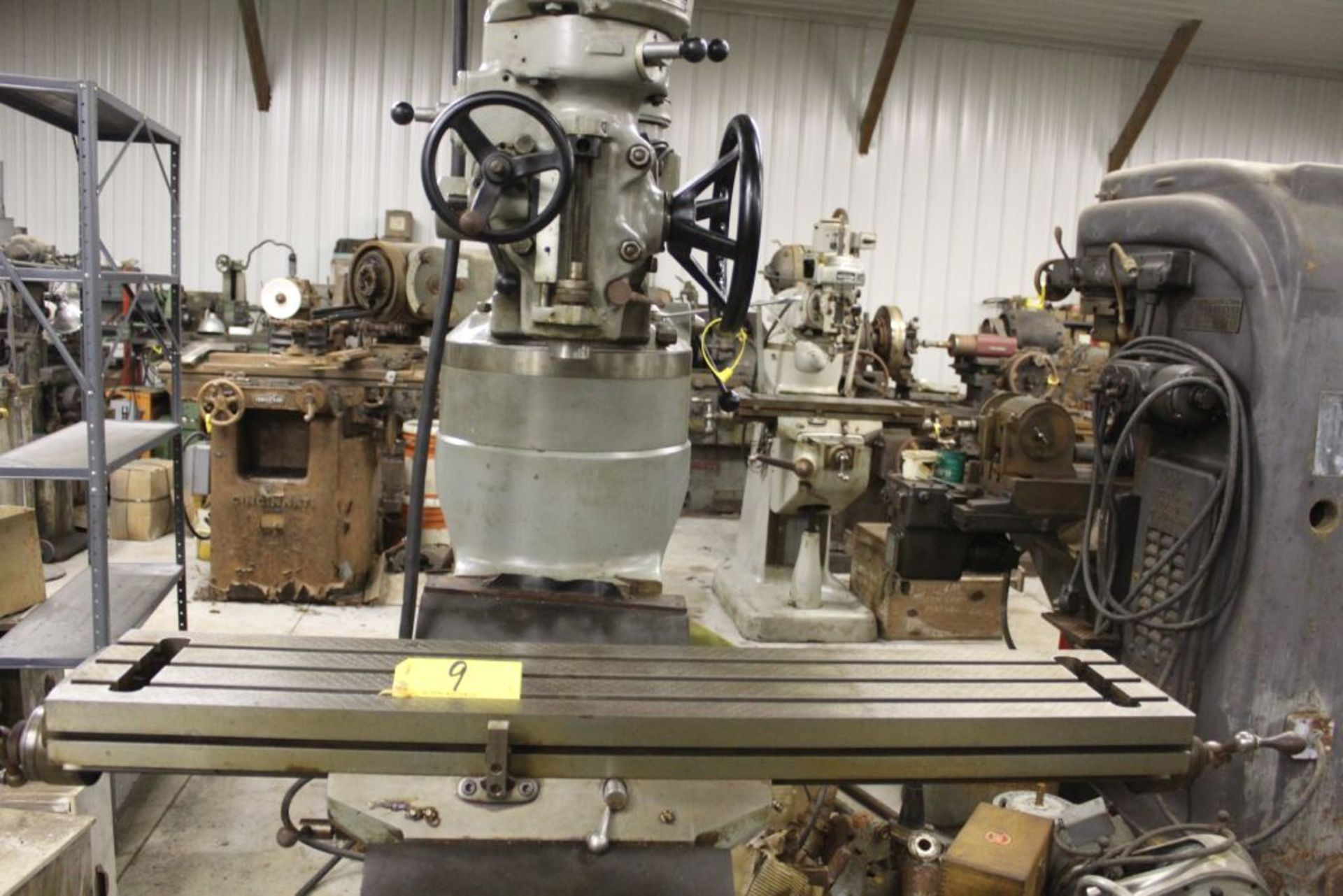 """Bridgeport mill, model 12-BR, sn 83978, 9"""" x 48"""" bed, manual (not down power), shaping attachment. - Image 9 of 15"""