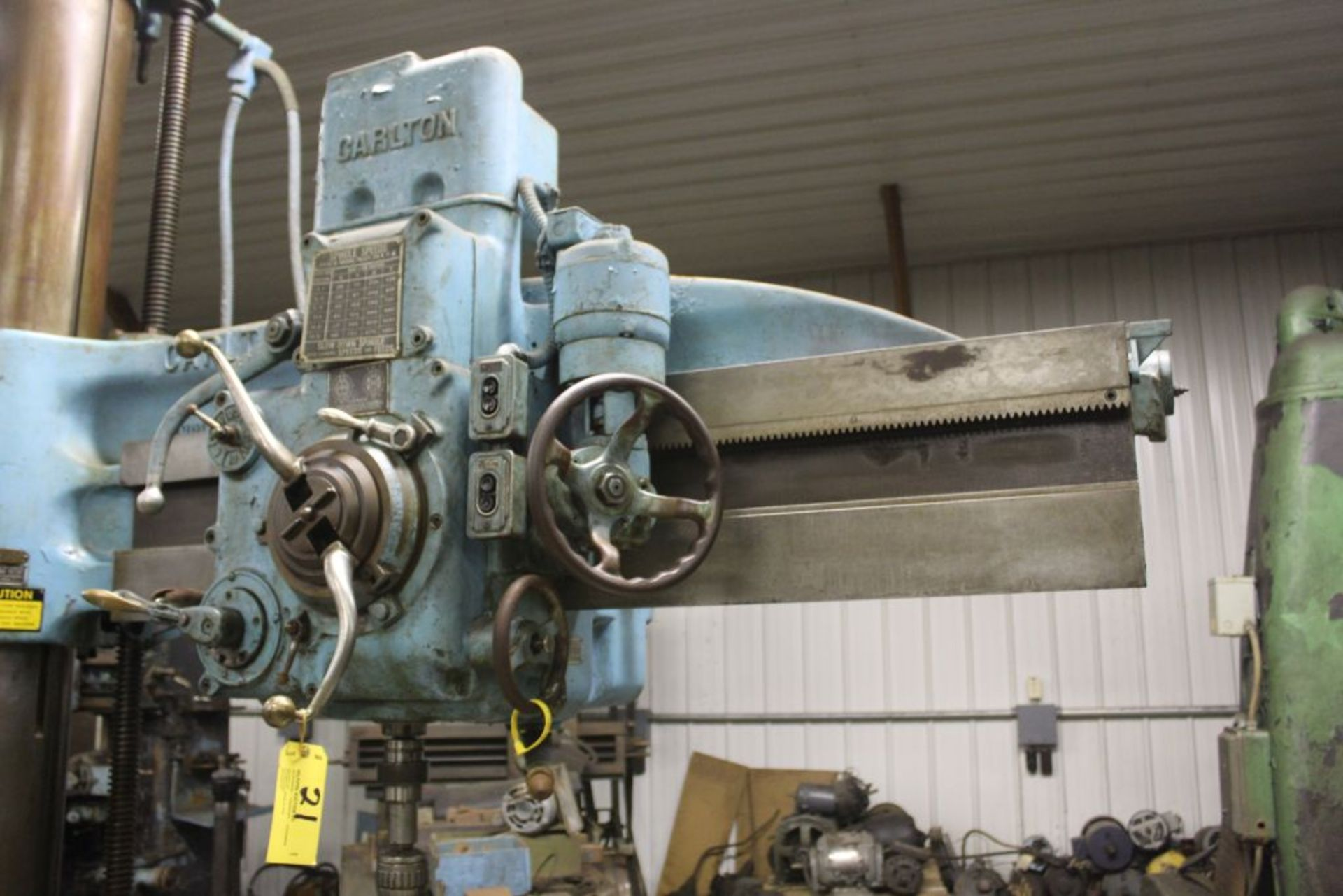 """Carlton radial arm drill, 5' arm, 11"""" column, 9' 9"""" total height, 36"""" x 53"""" bed, misc. tooling. - Image 5 of 8"""