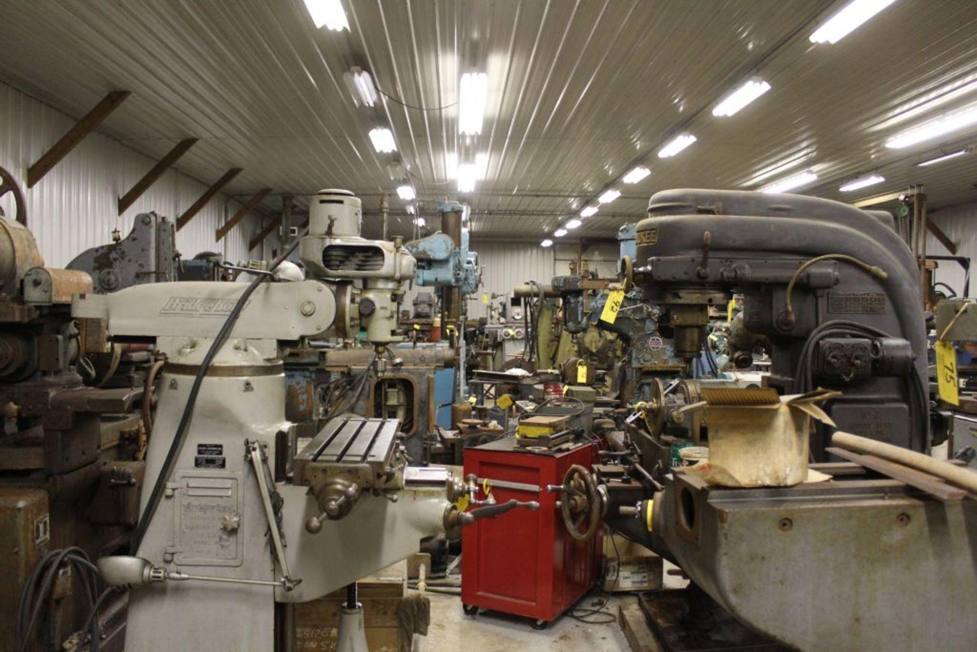 "Bridgeport mill, sn 97974, 6 speed, 9"" x 32"" bed, manual adjustments. - Image 6 of 6"