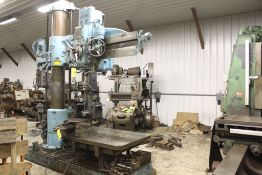 "Carlton radial arm drill, 5' arm, 11"" column, 9' 9"" total height, 36"" x 53"" bed, misc. tooling."