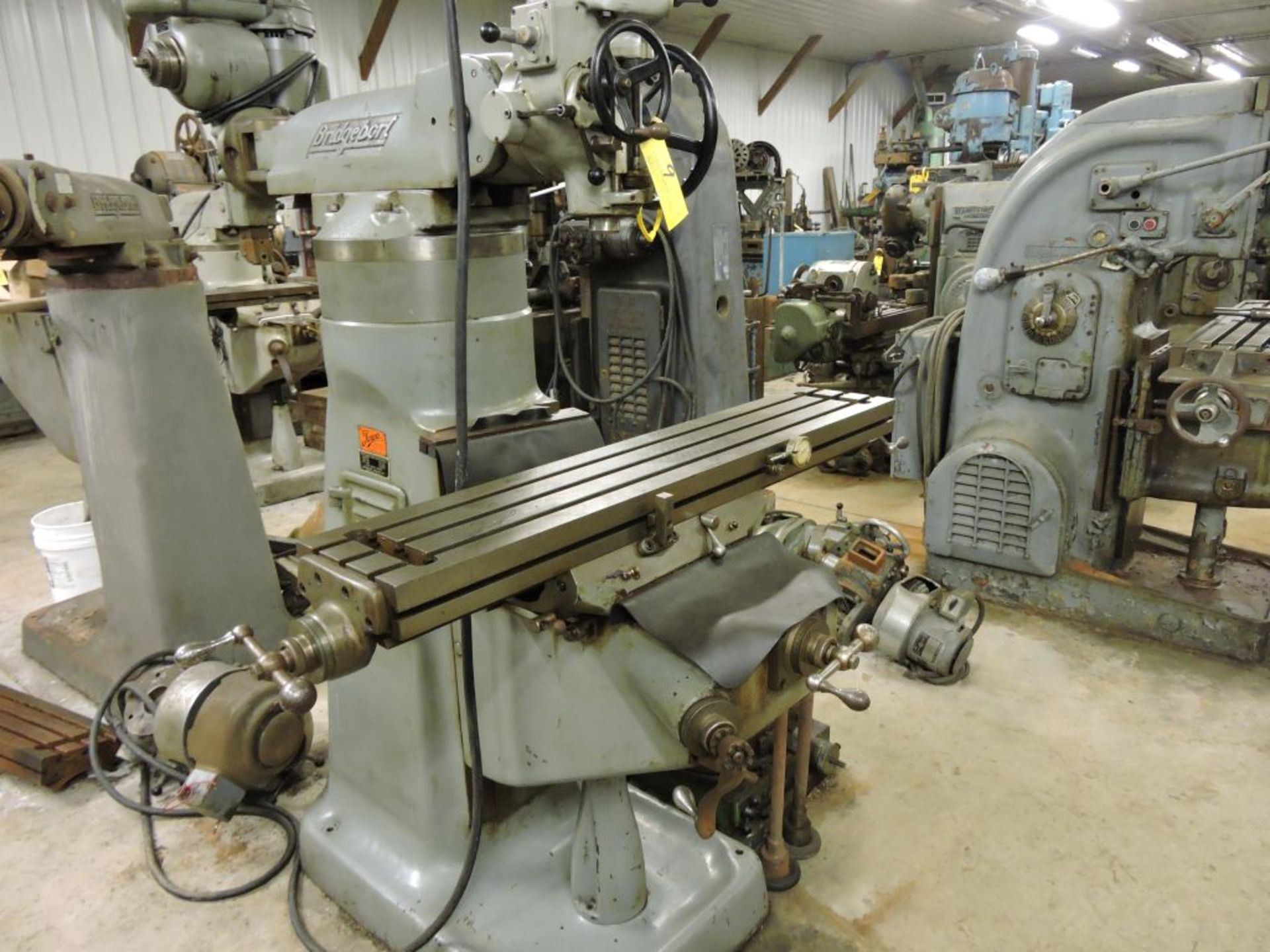 """Bridgeport mill, model 12-BR, sn 83978, 9"""" x 48"""" bed, manual (not down power), shaping attachment. - Image 11 of 15"""