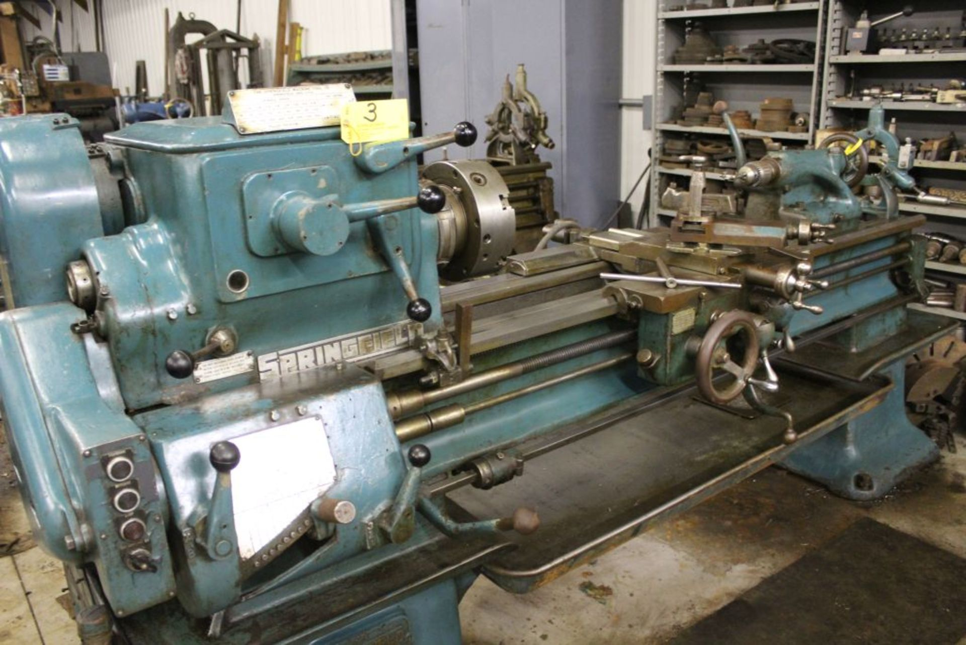 """Springfield lathe, sn 52071, 14"""", 1 3/4"""" hole, 16"""" swing, 48"""" center to center, taper attachment, - Image 4 of 14"""
