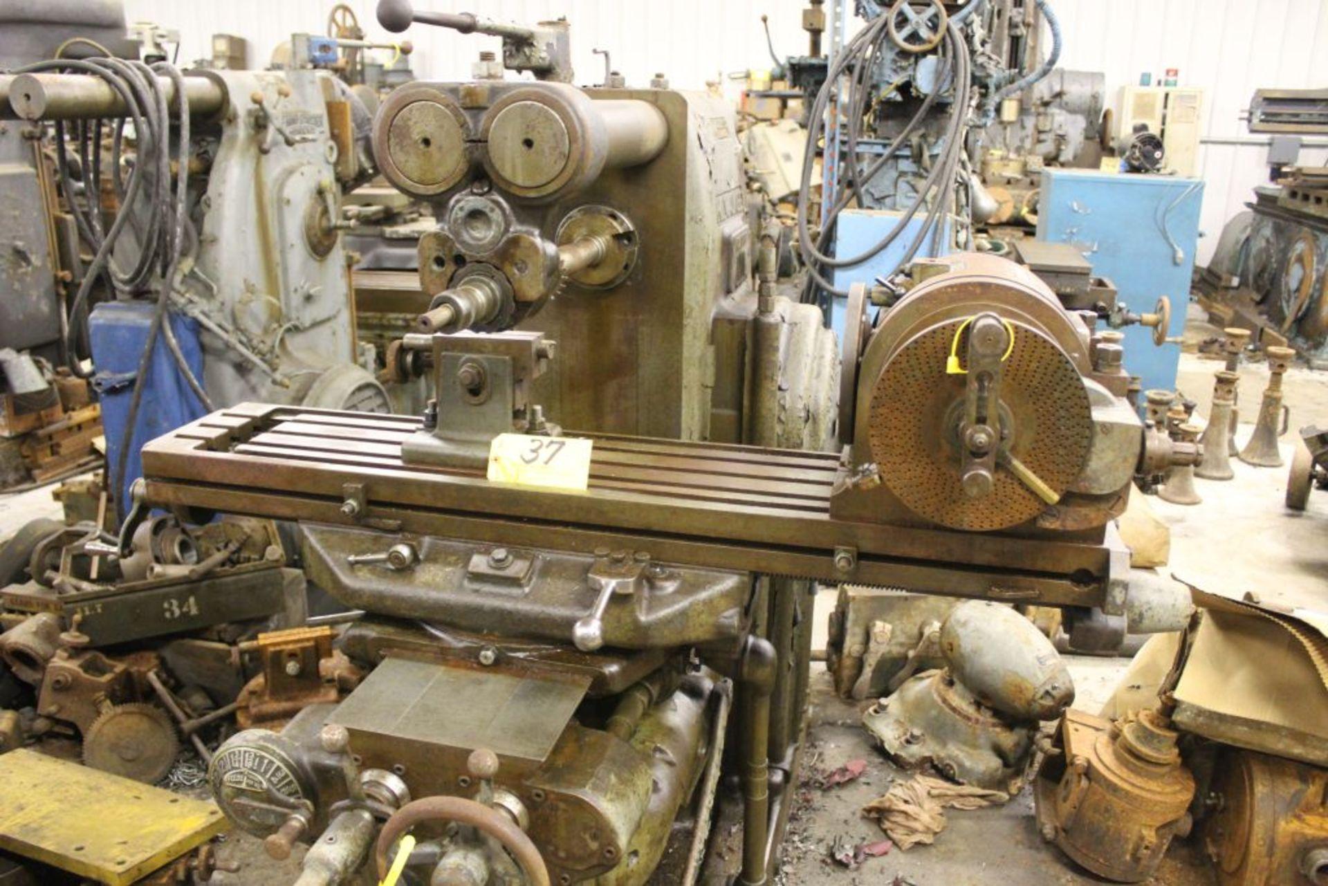 "Milwaukee mill model H, sn 3596, 51"" x 10"" bed, horz. Boring mill."