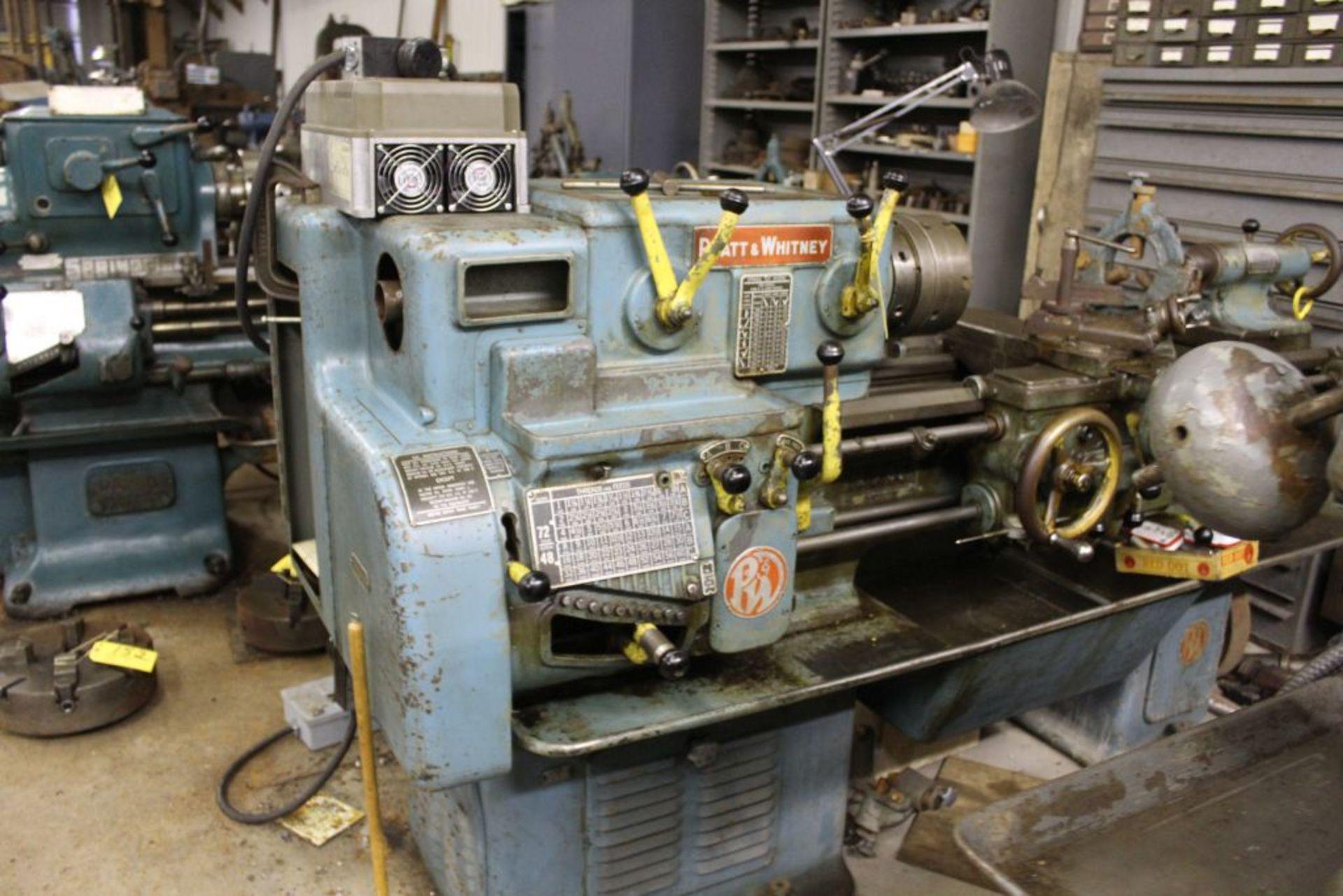 "Pratt & Whitney lathe, sn 26830, 16"" swing, 9"" 6 jaw chuck, 30"" center to center, taper - Image 3 of 10"