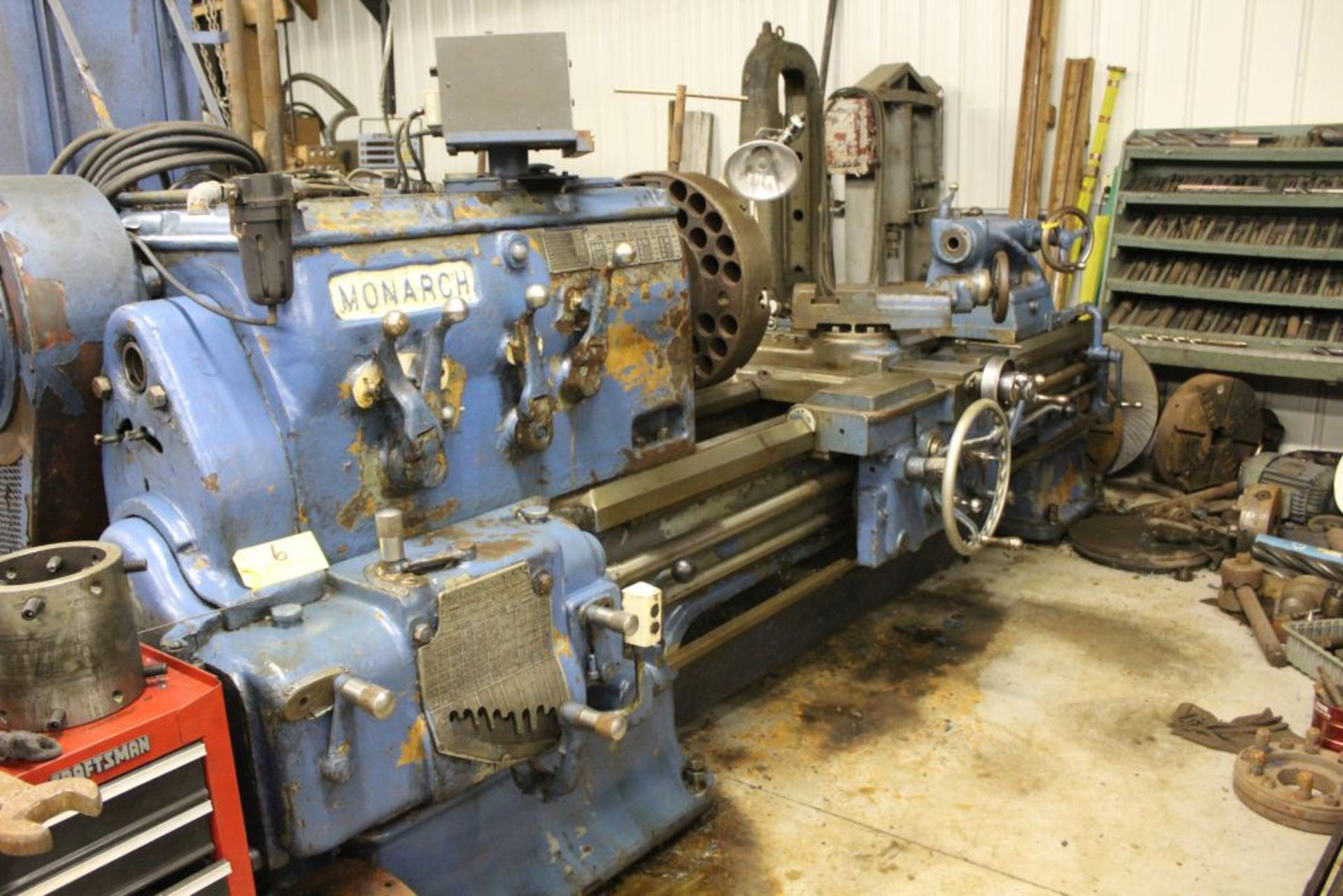 """1952 Monarch lathe, sn 35209, 20"""", 2 1/4"""" hole, 96"""" bed, 27.5 swing, 72"""" center to center, tooling"""