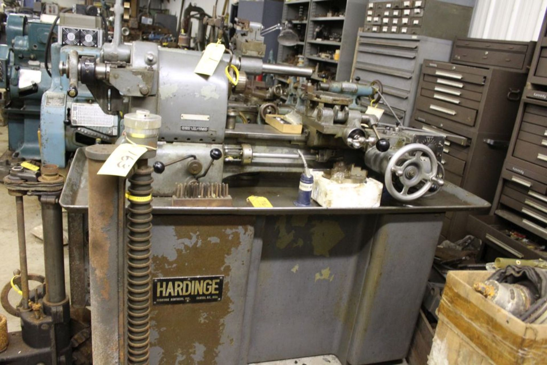 """Hardinge lathe model HCT, 16"""" bed, 2"""" hole, carriage feed, thread attachment, 1 hp, 3 phase, 220 - Image 5 of 8"""