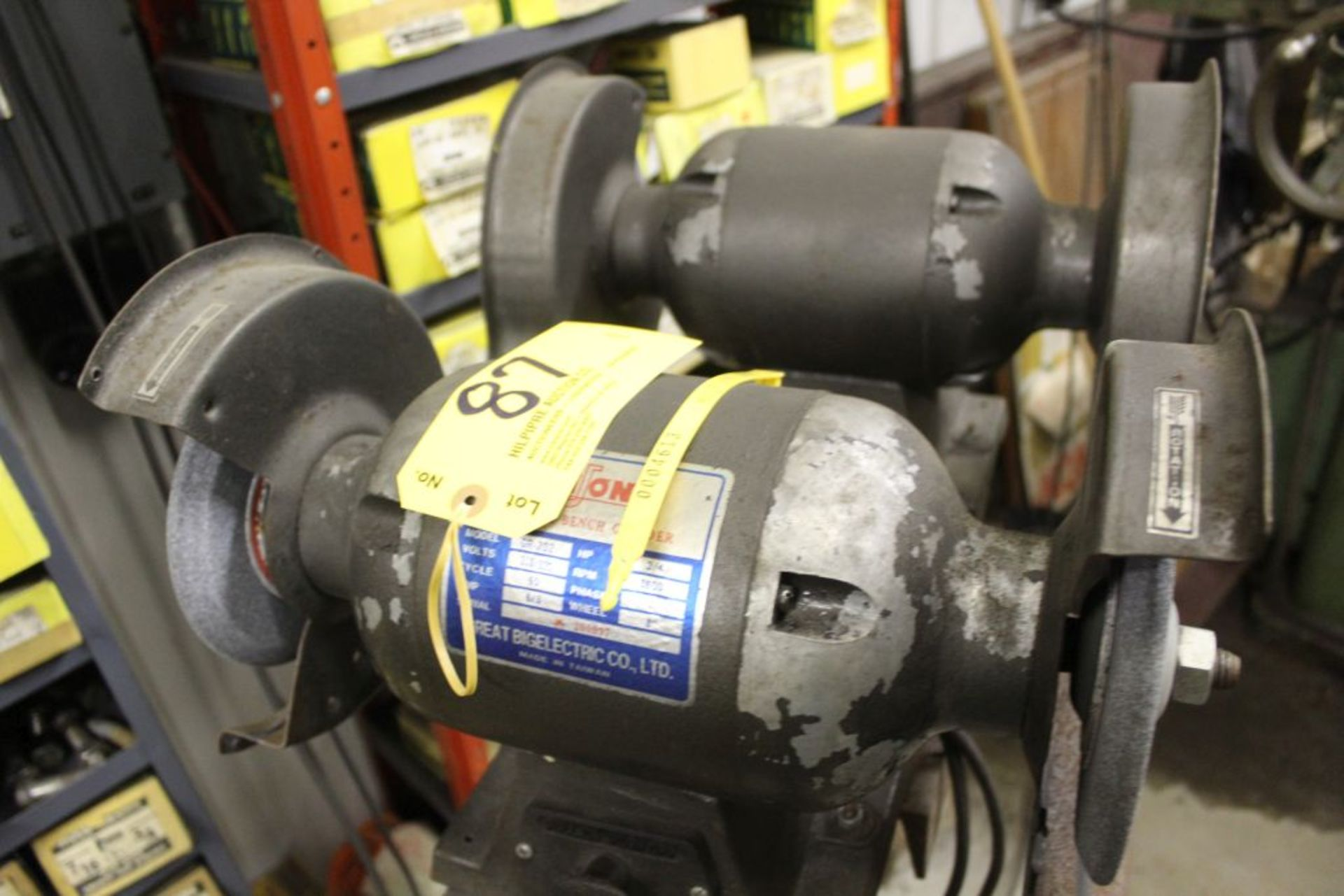 Niuon G202 double spindle grinders, 3/4 hp on stand.