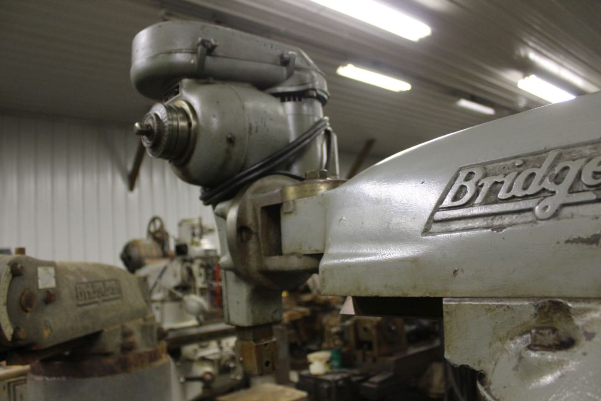 """Bridgeport mill, model 12-BR, sn 83978, 9"""" x 48"""" bed, manual (not down power), shaping attachment. - Image 6 of 15"""