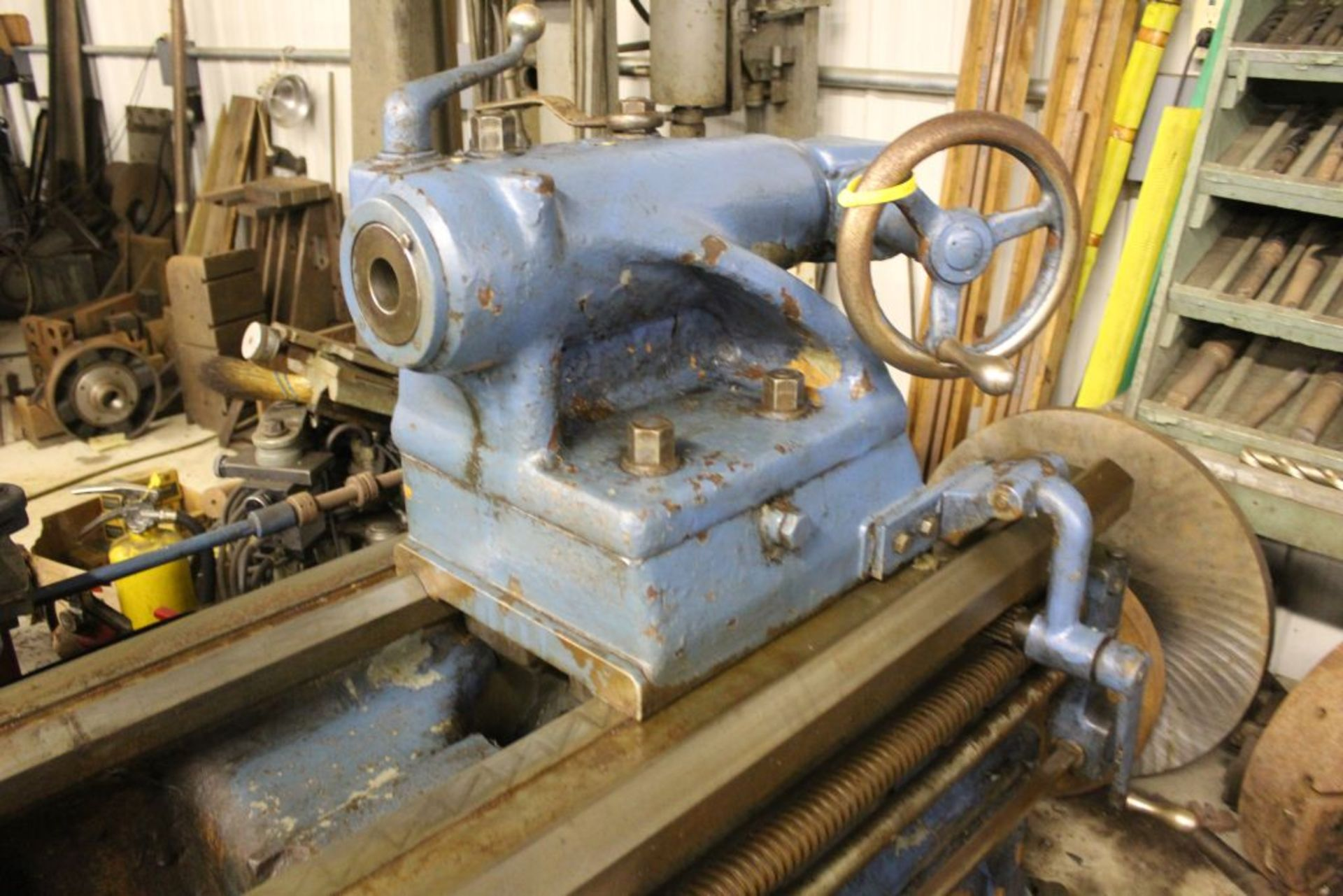 """1952 Monarch lathe, sn 35209, 20"""", 2 1/4"""" hole, 96"""" bed, 27.5 swing, 72"""" center to center, tooling - Image 4 of 12"""
