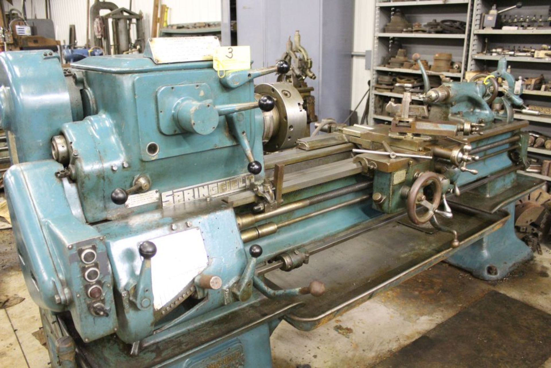 """Springfield lathe, sn 52071, 14"""", 1 3/4"""" hole, 16"""" swing, 48"""" center to center, taper attachment,"""