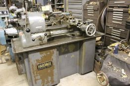 "Hardinge lathe model HCT, 16"" bed, 2"" hole, carriage feed, thread attachment, 1 hp, 3 phase, 220"