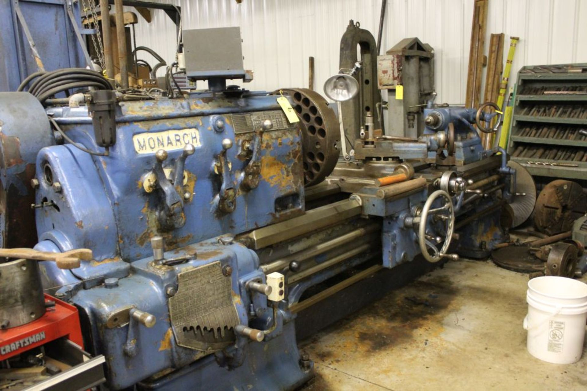 """1952 Monarch lathe, sn 35209, 20"""", 2 1/4"""" hole, 96"""" bed, 27.5 swing, 72"""" center to center, tooling - Image 2 of 12"""