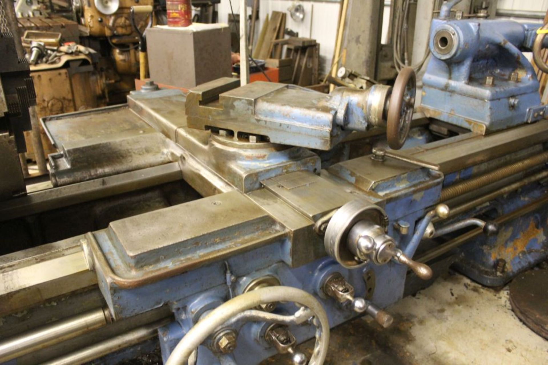 """1952 Monarch lathe, sn 35209, 20"""", 2 1/4"""" hole, 96"""" bed, 27.5 swing, 72"""" center to center, tooling - Image 6 of 12"""