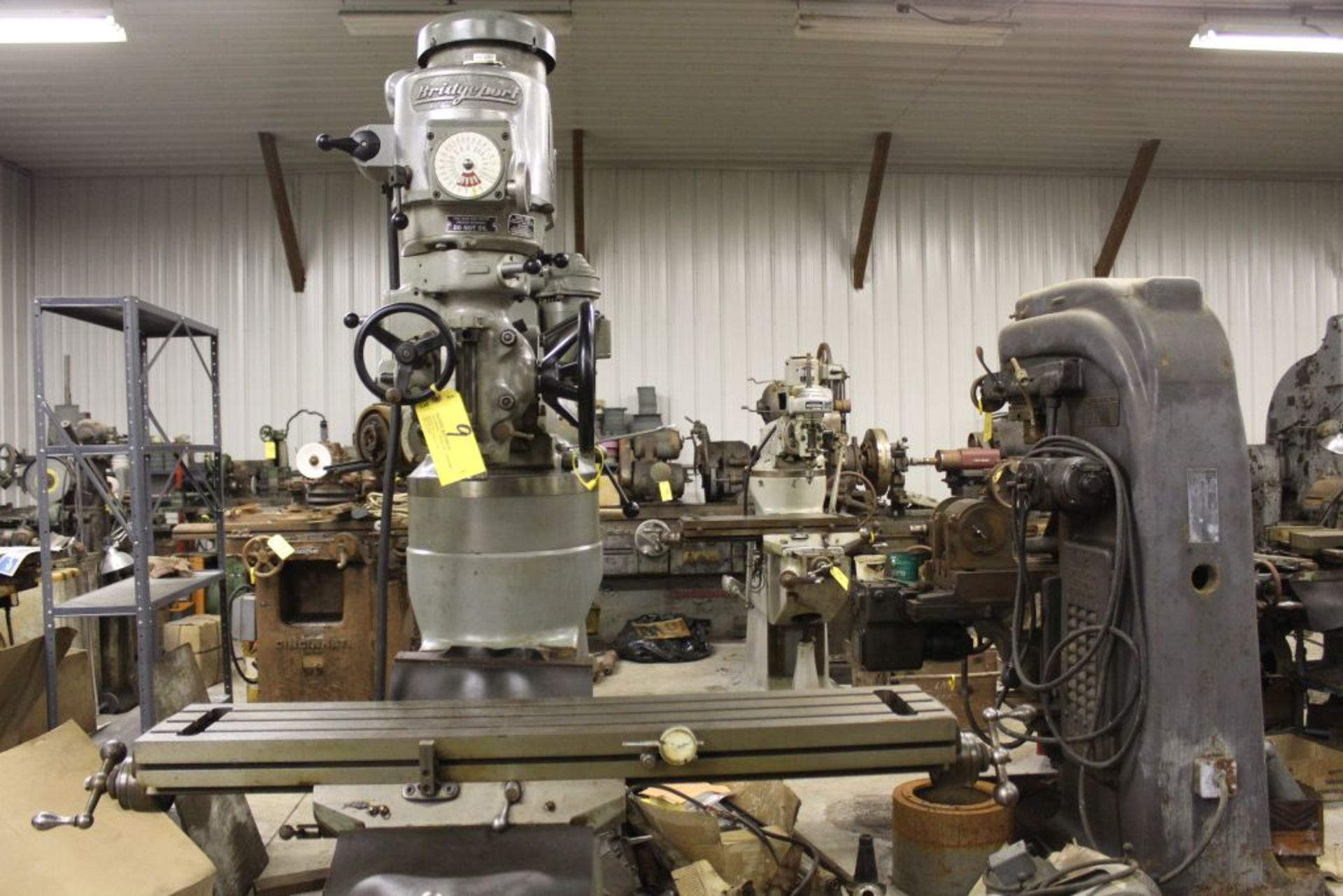 """Bridgeport mill, model 12-BR, sn 83978, 9"""" x 48"""" bed, manual (not down power), shaping attachment. - Image 2 of 15"""