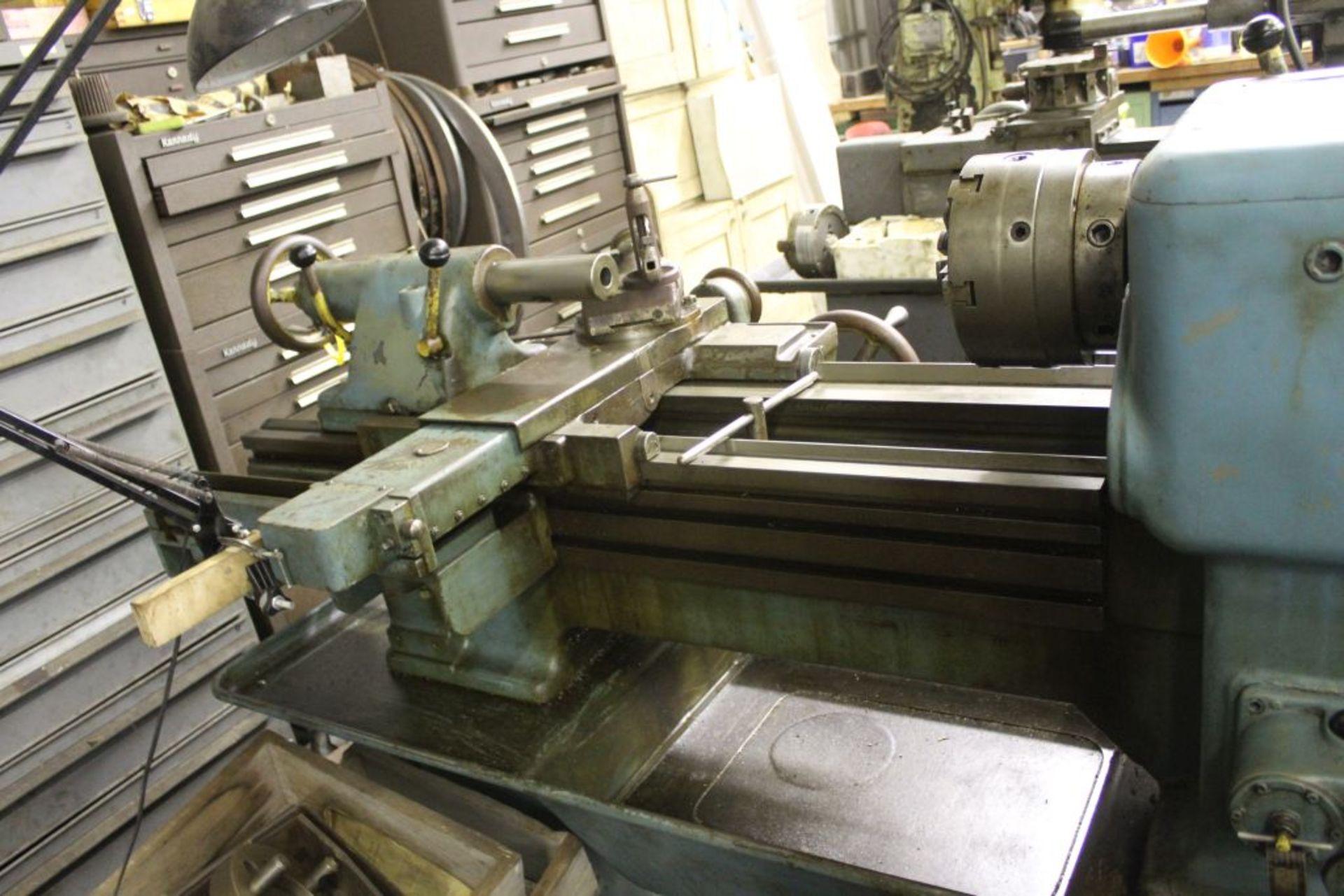 "Pratt & Whitney lathe, sn 26830, 16"" swing, 9"" 6 jaw chuck, 30"" center to center, taper - Image 7 of 10"