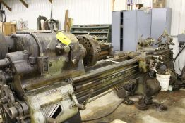 "Springfield lathe, 16"", 2 1/2"" hole, 9' bed, 20"" swing, 96"" center to center, taper attachment, ("