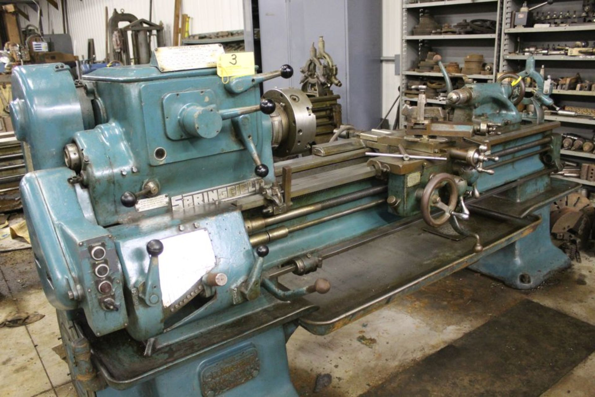 """Springfield lathe, sn 52071, 14"""", 1 3/4"""" hole, 16"""" swing, 48"""" center to center, taper attachment, - Image 2 of 14"""
