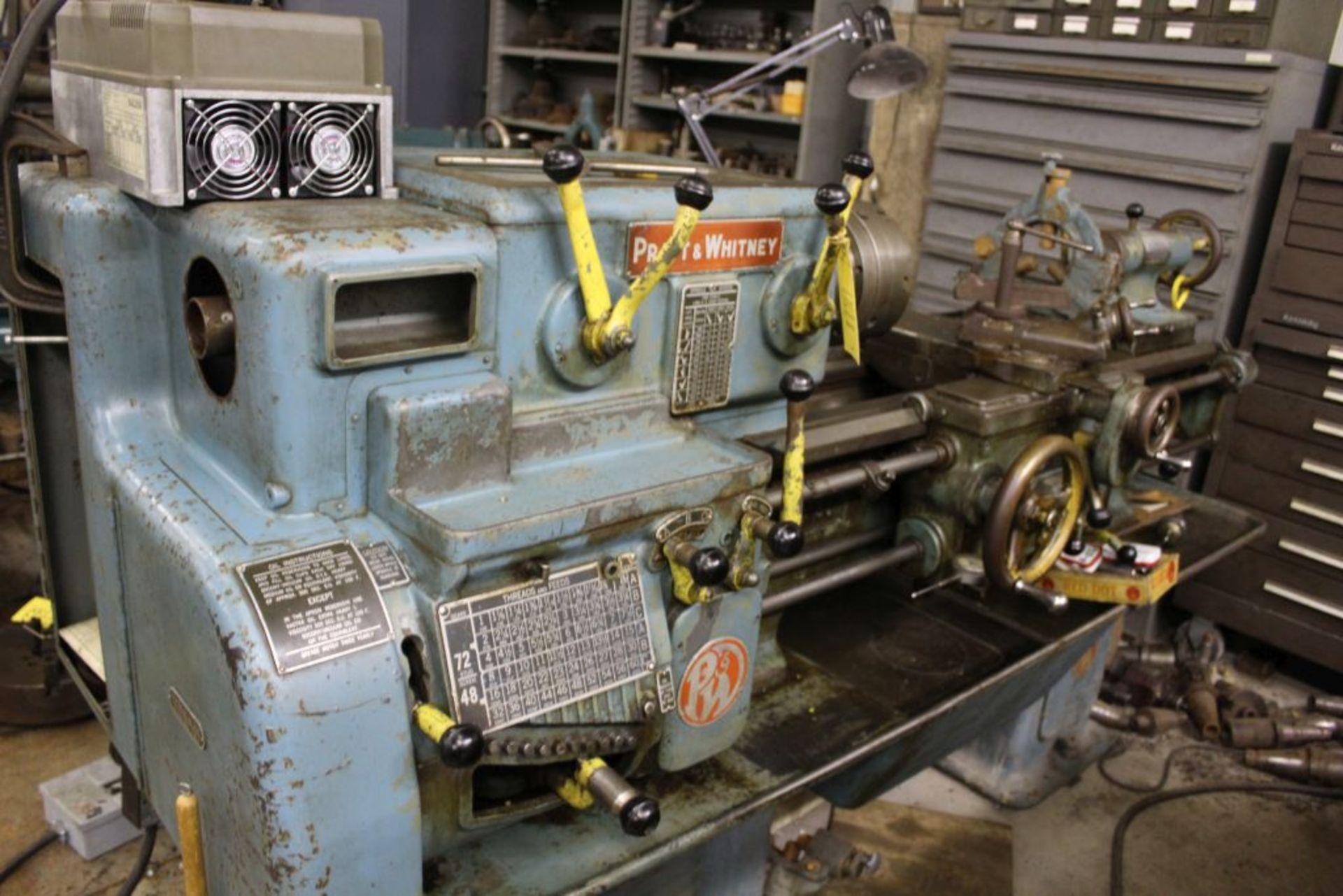 "Pratt & Whitney lathe, sn 26830, 16"" swing, 9"" 6 jaw chuck, 30"" center to center, taper - Image 2 of 10"