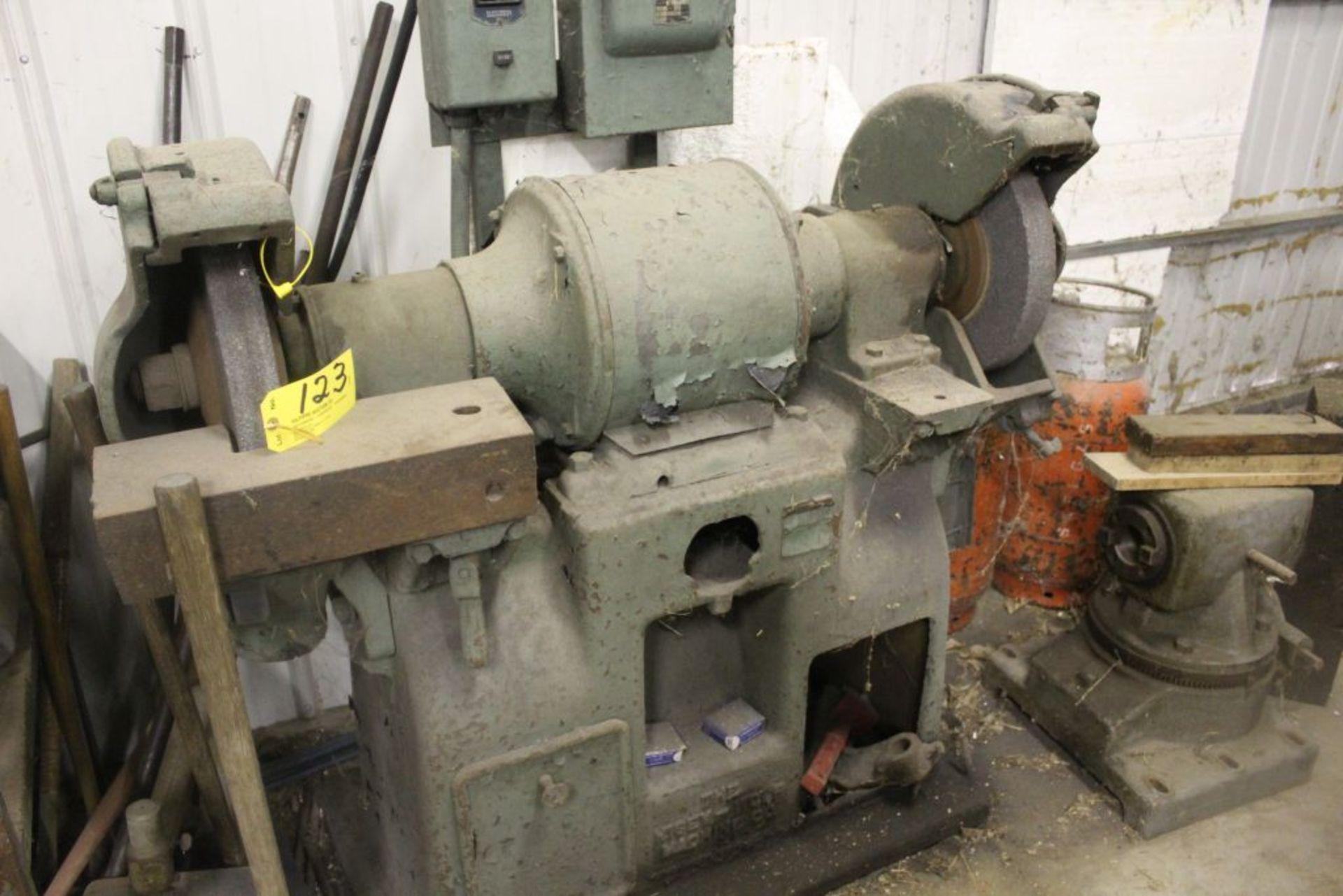 """Large double spindle grinder, 15"""" wheels, 220 v."""