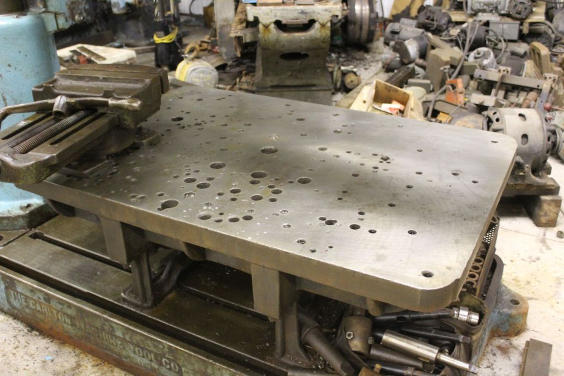"""Carlton radial arm drill, 5' arm, 11"""" column, 9' 9"""" total height, 36"""" x 53"""" bed, misc. tooling. - Image 4 of 8"""