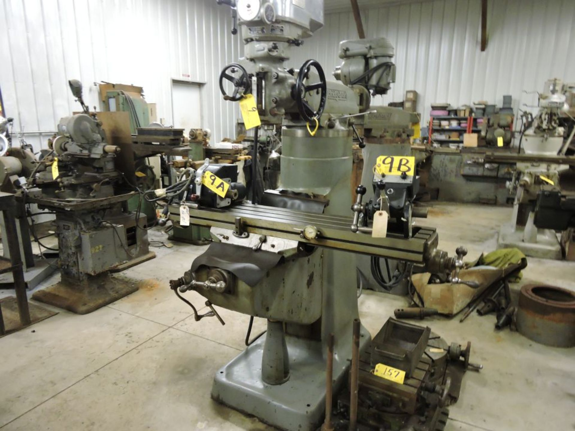 """Bridgeport mill, model 12-BR, sn 83978, 9"""" x 48"""" bed, manual (not down power), shaping attachment. - Image 14 of 15"""