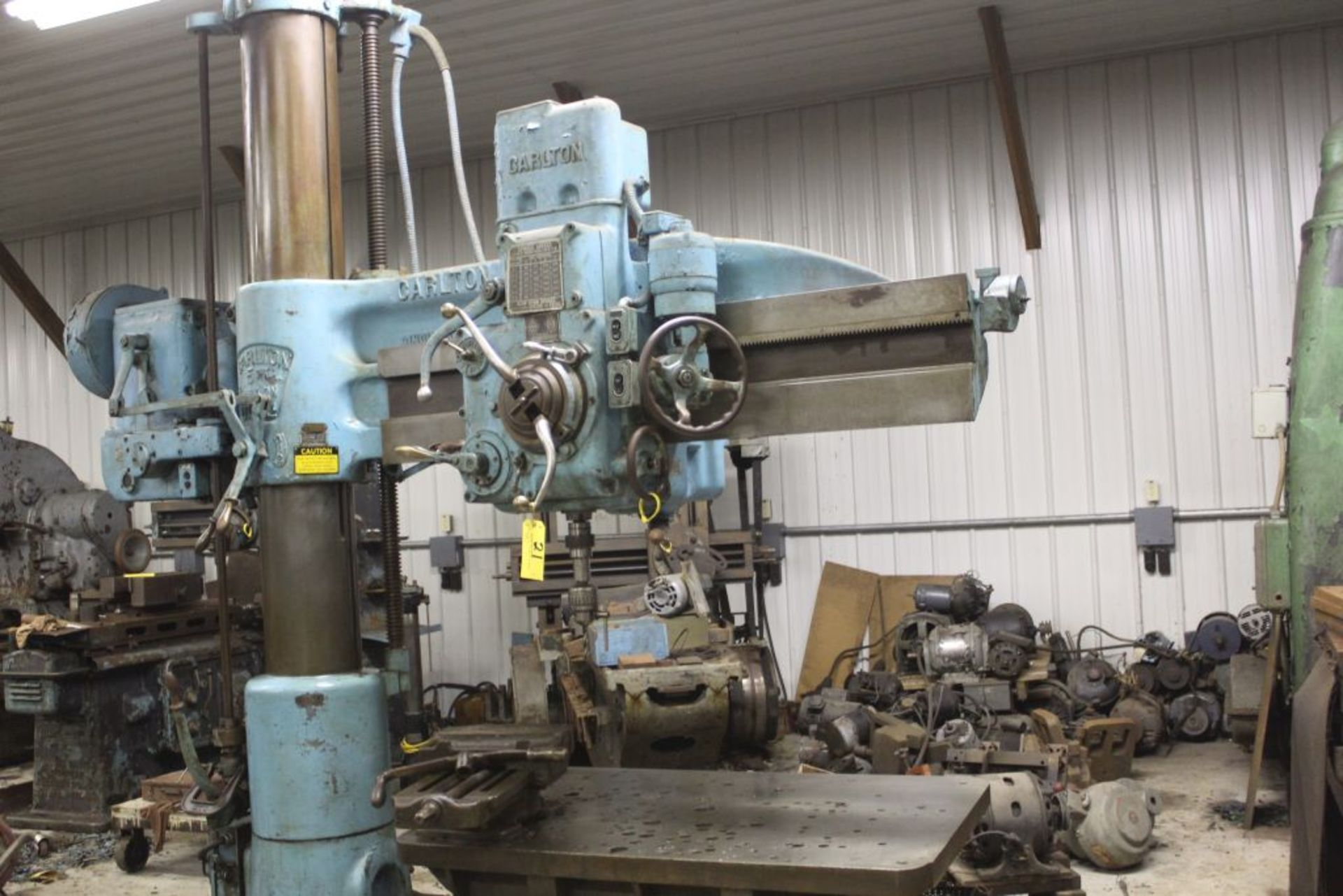 """Carlton radial arm drill, 5' arm, 11"""" column, 9' 9"""" total height, 36"""" x 53"""" bed, misc. tooling. - Image 2 of 8"""