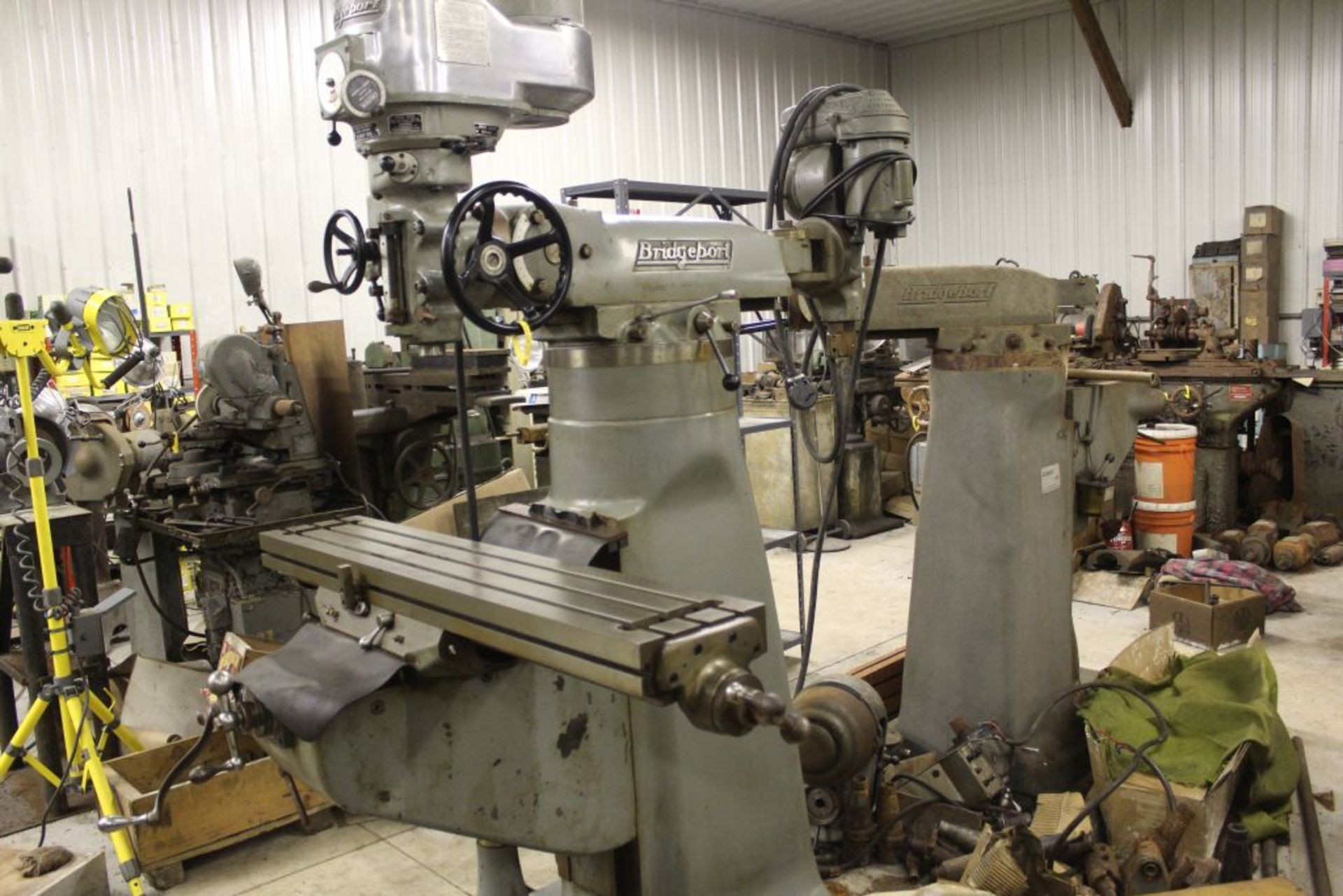 """Bridgeport mill, model 12-BR, sn 83978, 9"""" x 48"""" bed, manual (not down power), shaping attachment. - Image 3 of 15"""