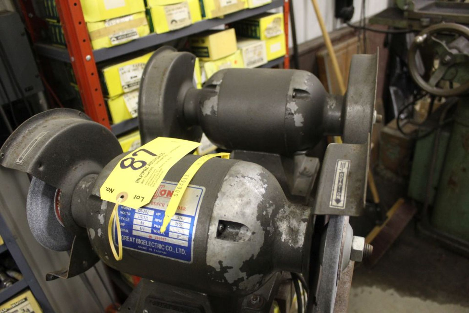 Niuon G202 double spindle grinders, 3/4 hp on stand. - Image 3 of 4