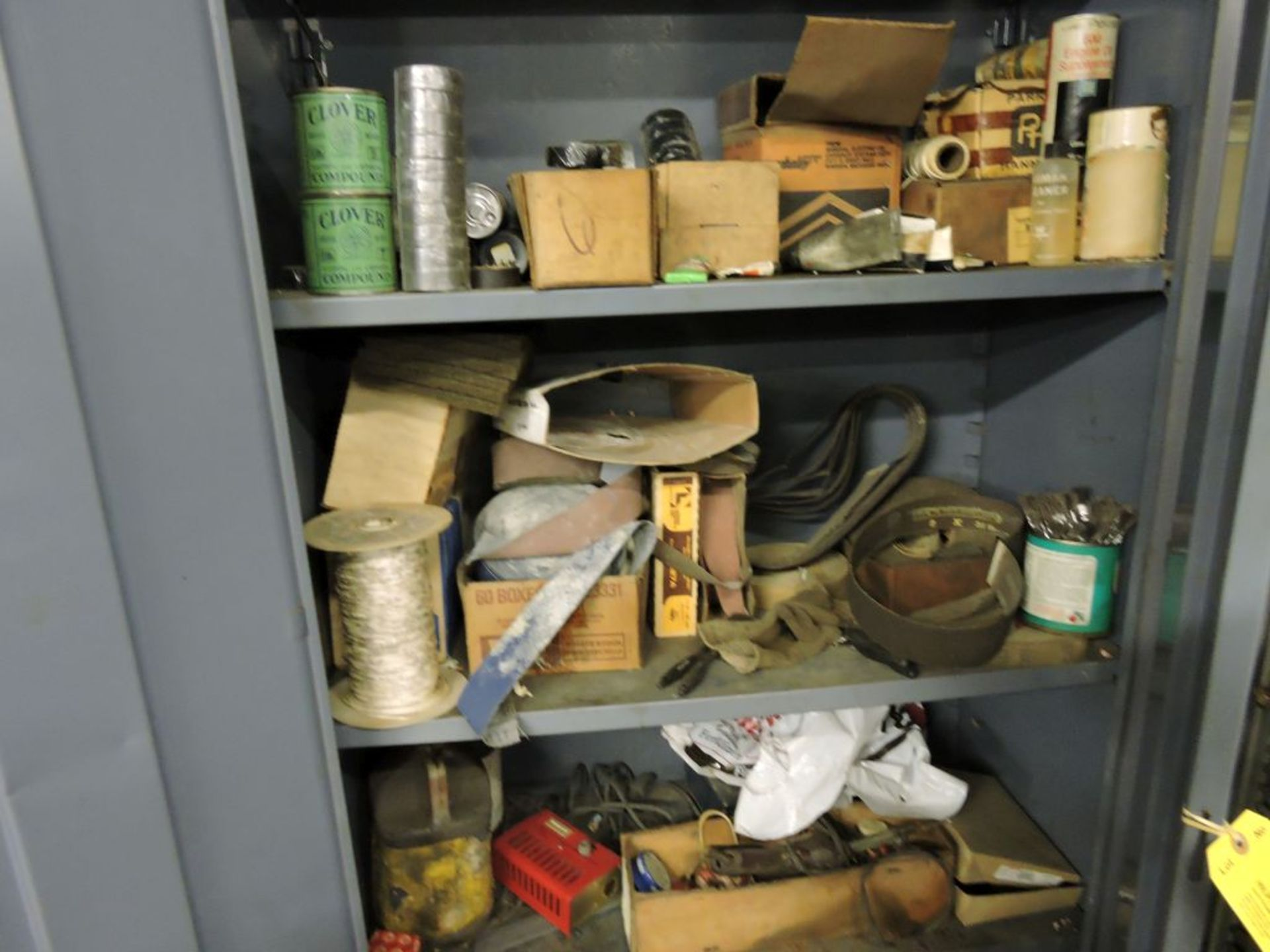 Two Door Cabinet W/ Contents Belt Dressing, Lapping compound, Sand Paper, Misc. - Image 3 of 3