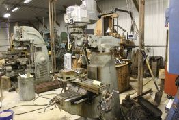 "Bridgeport mill, model BR12, sn 69112, 9"" x 42"" power bed, SARGON model 653, digital readout TBL,"