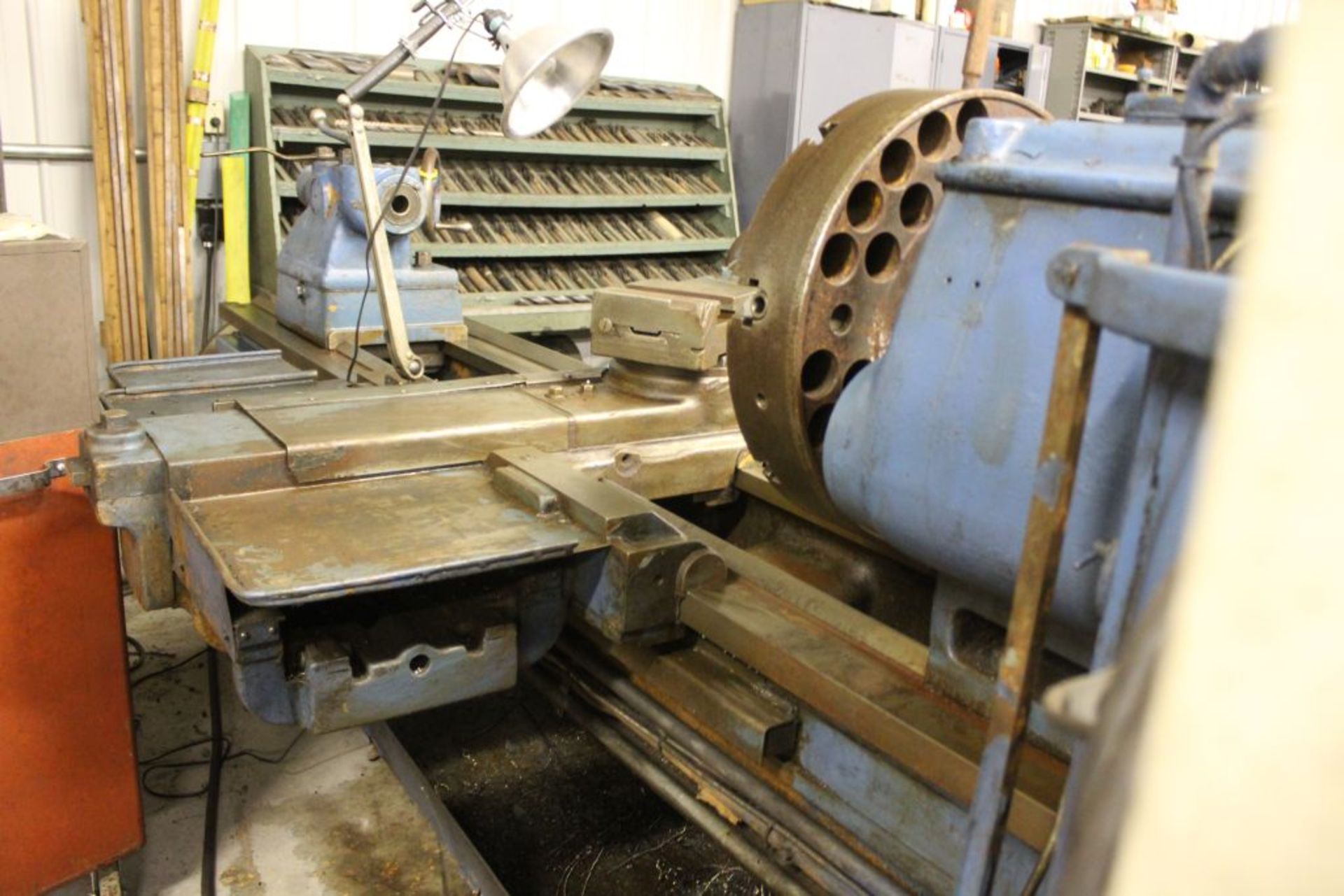 """1952 Monarch lathe, sn 35209, 20"""", 2 1/4"""" hole, 96"""" bed, 27.5 swing, 72"""" center to center, tooling - Image 7 of 12"""