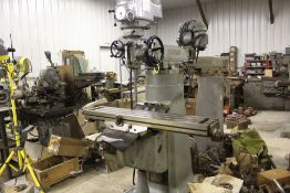 "Bridgeport mill, model 12-BR, sn 83978, 9"" x 48"" bed, manual (not down power), shaping attachment."