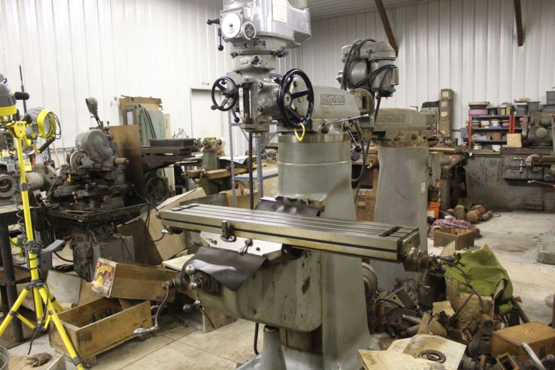 """Bridgeport mill, model 12-BR, sn 83978, 9"""" x 48"""" bed, manual (not down power), shaping attachment."""