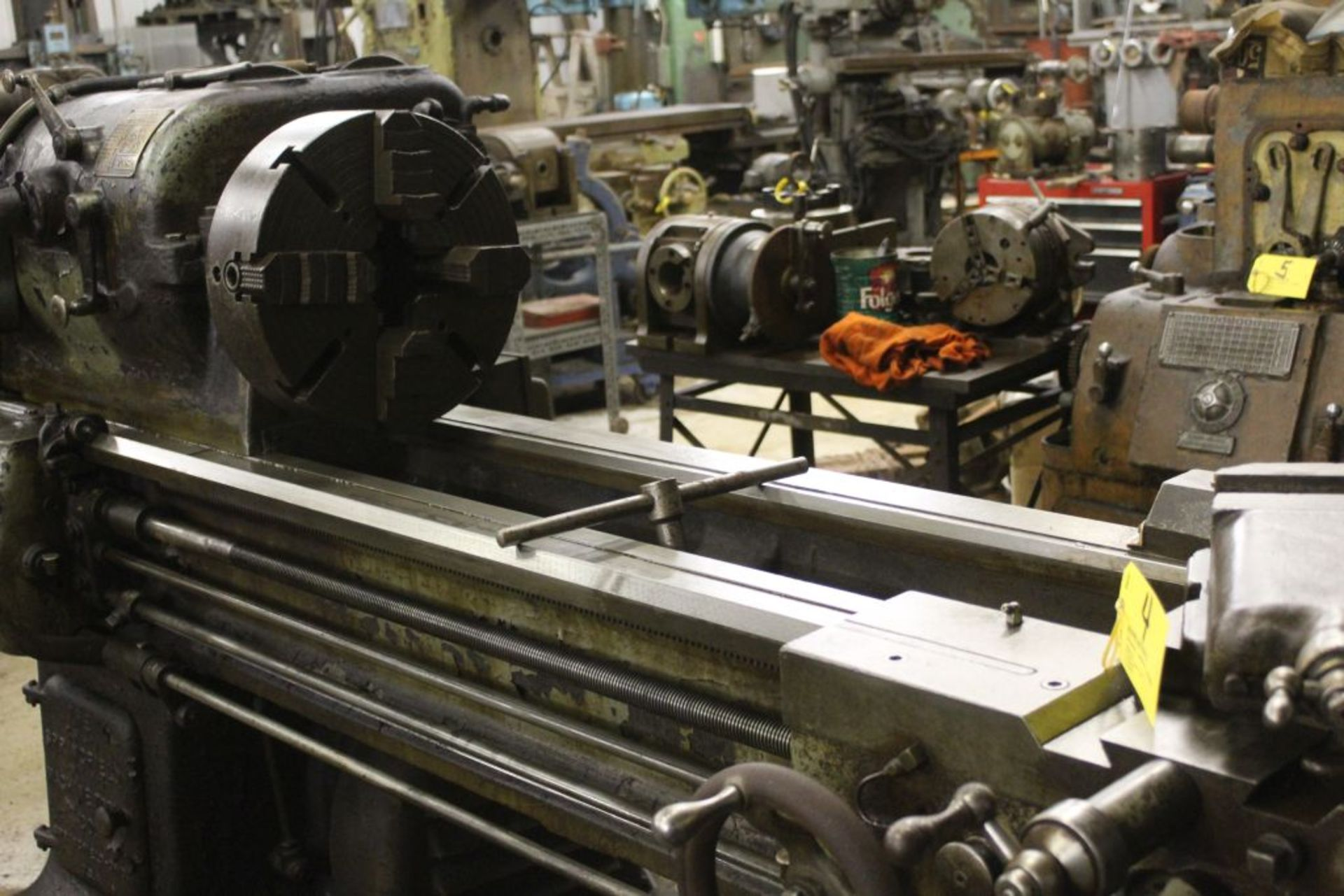 "Springfield lathe, 16"", 2 1/2"" hole, 9' bed, 20"" swing, 96"" center to center, taper attachment, ( - Image 3 of 7"