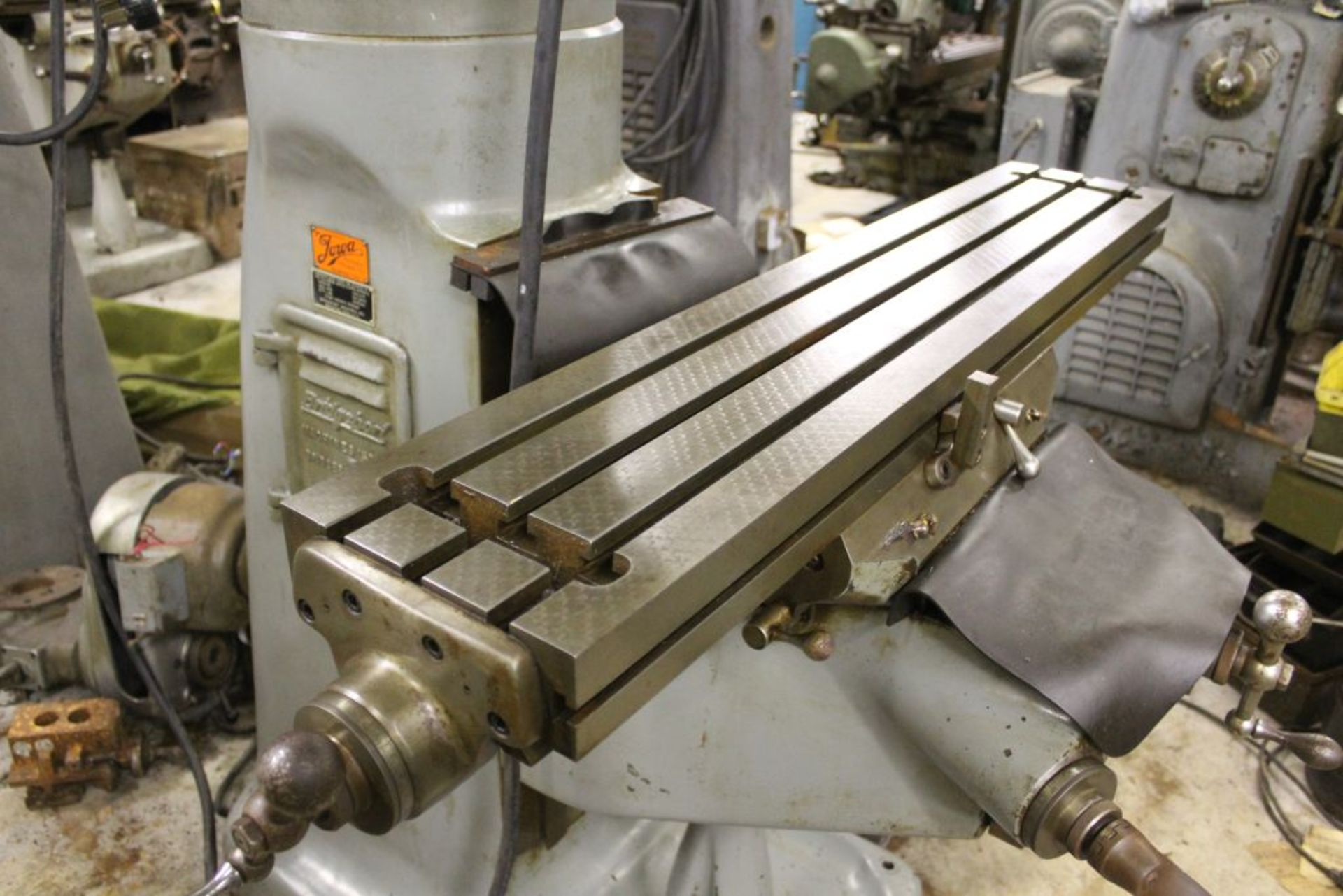 """Bridgeport mill, model 12-BR, sn 83978, 9"""" x 48"""" bed, manual (not down power), shaping attachment. - Image 4 of 15"""