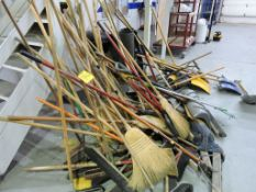 Brooms and shovels.
