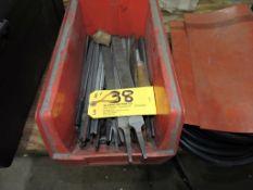 Assorted lot metal hand files, tool box.