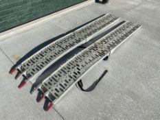 (1) pair alumium foldup ramps, shows signs of repair needs.