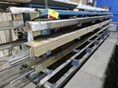 Steel rack 20 ft., adjustable arms, on casters.
