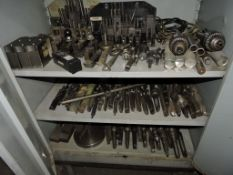 Assorted lot of tooling and cabinet: Chucks, bits.