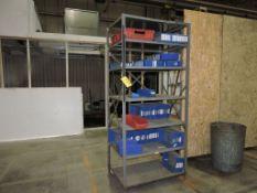 Metal rack and parts bins.
