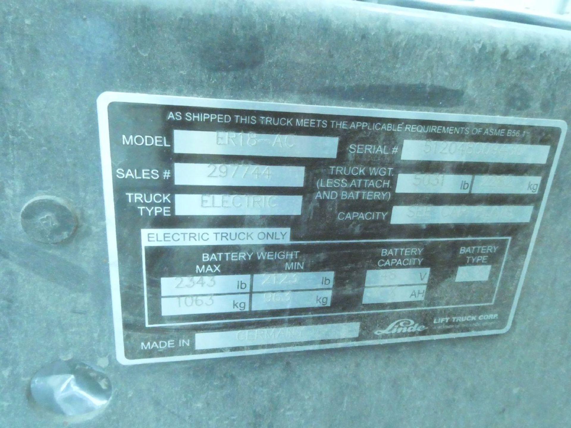 Linde ER18-AC 2600-Lb. Electric Fork Lift Truck - Image 4 of 6