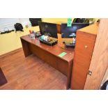 "Lot Office c/o: 72"" x 36"" x 29"" High Wooden Double Pedestal Desk, High-Back Swivel Arm Chair, Wooden"