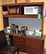 """Lot Breakroom Storage System c/o: 72"""" x 18"""" x 28"""" Wooden Storage System w/Contents ***No Kuerig Coff"""