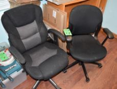 Lot c/o: (2) Assorted Swivel Arm Chairs