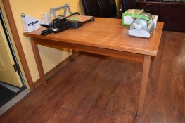 """Lot Breakroom Furniture c/o: 55"""" x 35.5"""" x 30"""" High Woden Table, (5) Wood Frame Leather Upholstered"""